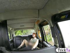 Busty amateur redhead babe fucked for a free cab fare