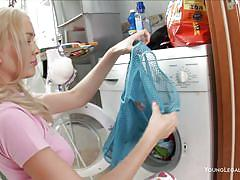 Amazing ass blonde takes a break from housework