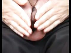 Hot big tit milf gives hj to cum on her feet