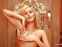 Skinny oiled blonde has her place