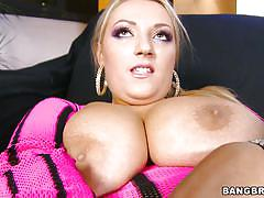 Huge boobs blonde enjoying her man's tongue and a dildo