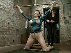 milf, bondage, bdsm, spanking, high heels, tatoo, brunette, punished, tied up, undressing, round boobs, ropes, on knees, oiled tits, vault, executor, squeezed tits, gag, annika, hogtied