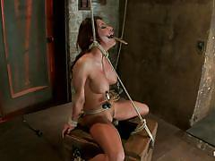 milf, bondage, bdsm, big tits, punishment, vibrator, brunette, moaning, tied up, sex toy, ropes, suffocation, vault, executor, weight on tits, clamps on nipples, aleska nicole, hogtied, kinky dollars