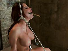 Perfect boobs babe is tied and punished