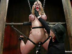 milf, blonde, bondage, bdsm, big tits, hanging, punish, vibrator, tickle, tied up, chains, oiled tits, vault, executor, ball gag, squeezed tits, darling, device bondage, kinky dollars