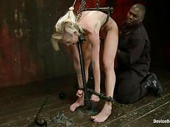 Blonde slut tied and punished