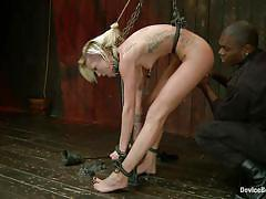 Blonde slut tied and punished