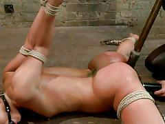 Tied blonde with legs spread wide is punished hard