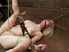 milf, spanked, blonde, bondage, bdsm, big ass, punishment, piercing, humiliation, tatoo, vibrator, tied up, spread legs, shaved pussy, ropes, lash, hot boobs, on floor, vault, executor