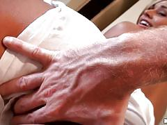 Relaxing massage for the cute blonde lady