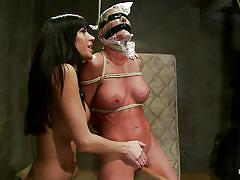 lesbian, tattoo, bondage, bdsm, high heels, whipping, pantyhose, punishment, domination, big boobs, bubble butt, tied up, ropes, brunette babe, lash, suffocation, vault, scotch tape, pussy rubbbing, gia dimarco