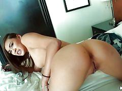 Brunette with hot ass takes it in the pussy and anus