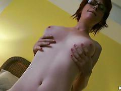 Dorky redhead fucking like a slut