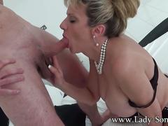 Big boobed milf lady sonia giving handjob and blowjob to a s
