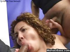 Plumper nailed by 2 big cocks