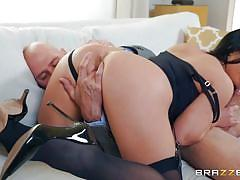 milf, handjob, big ass, big tits, big cock, deepthroat, rimjob, pussy licking, brunette, office sex, under table, porn stars like it big, brazzers, angela white, johnny sins
