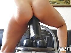 Sarahs colossal dildo fucking climax
