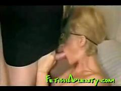 Masked milf blows,  fucks and swallows