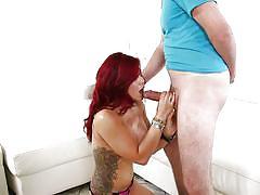 Redhead goddess sucking dick