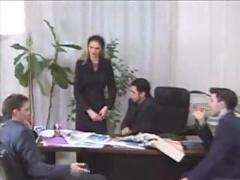 French girl fucks her 3 bosses