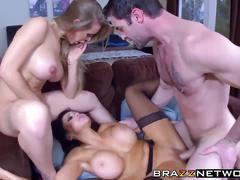 Perfect babes get banged by a lucky dude
