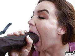 Brunette hottie works the monster black dick
