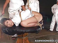 Asian chick is tortured with tools