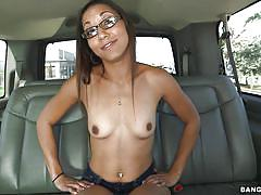 small tits, milf, money talks, glasses, slim, pussy licking, backseat, brunette, undressing, car, pussy fingered, bang bus, bangbros network, joanna james