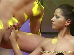 Hard fuck on public sex show stage