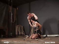 bdsm, babe, domination, stockings, fishnet, big boobs, brunette, tattooed, throat fuck, rope bondage, sexually broken, lily lane, jesse dean
