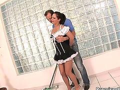 Naughty maid bukkake surprise