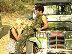 Anita blond has car trouble.