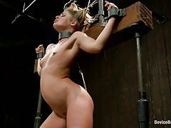 Blonde in bondage device