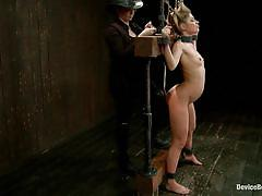 small tits, blonde, bondage, whipping, moaning, anal insertion, nice ass, clamps, sheena shaw, device bondage, kinky dollars