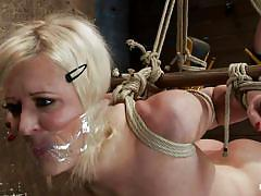Blonde slut tied and whipped hardcore