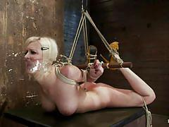 blonde, bondage, high heels, whipping, hogtied, moaning, tied up, hot ass, on table, duct tape, cherry torn, hogtied, kinky dollars