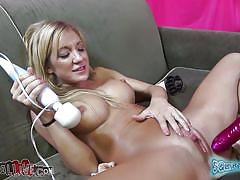 milf, blonde, big tits, tv show, squirting, dildo, vibrator, masturbating, couch, wet pussy, spread legs, shaved pussy, sexy boobs, sucking dildo, squirtamania, amy brooke, immoral live, myxxxpass, blazing bucks