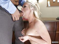 Blonde babe gets her mouth fucked hardcore