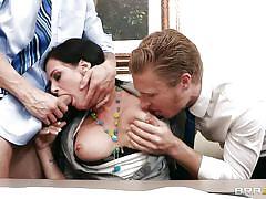 threesome, big tits, deepthroat, pov blowjob, blowjob, brunette, hot milf, pierced nipples, shaved cock, tory lane, criss strokes, michael vegas, big tits at work, brazzers, jugg cash