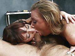 Two hot sluts sucking dick and being fucked hard