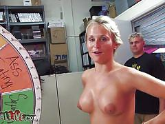 Hot blonde big boobs masturbating and sucking cock