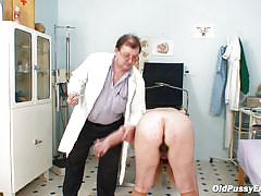 Granny bitch gets vagina examination by a old doctor