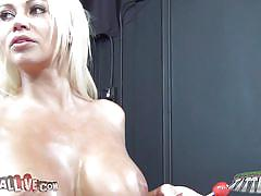 Huge boobs doll loves candy and cock
