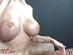 blonde, babe, ass licking, pantyhose, blowjob, candy, huge boobs, titjob, nice ass, squeezing tits, position 69, oiled ass, oiled tits, nikita von james, immoral live, myxxxpass, blazing bucks