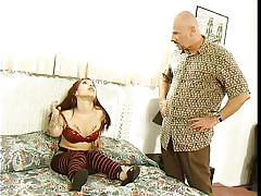 Bald guy fucking a slutty midget in her mouth