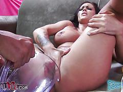 Huge boobs brunette masturbating like a horny slut