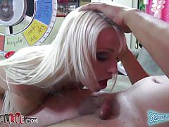 She can perform blowjob with her hands tied, but after squirting!