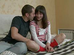 Awesome sex with a teen in bed