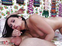 Hot brunette sucks and rides a big hard cock