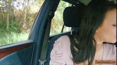 Amateur teen belle claire stuffed in the backseat